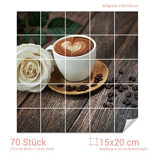 Graz Design 765278 tegelstickers cappuccino/roze | keuken tegels met folie beplakken Fliesenmaß: 15x20cm (BxH) Bild: 150x150cm (Bxh)