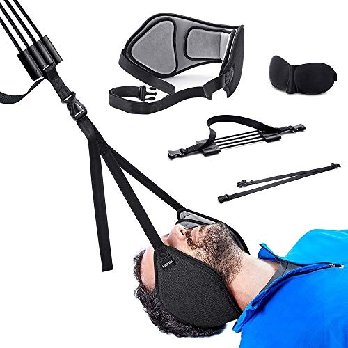 LXS Neck Traction Hammock for Neck Pain Relief, Head Hammock with Durable Elastic Safety Cords & Adjustable Straps, Cervical Traction Device/Stretcher for Muscle Relaxation & Physical Therapy