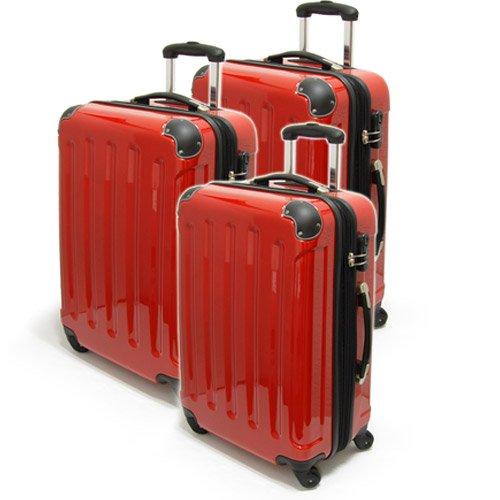 Set 3 trolley rigidi in policarbonato, colore: Nero