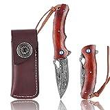 FORESAIL Japanese Handmade Damascus Steel folding Knives Handmade 3.15in...
