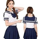 セレカジSIZE カラー セーラー服 制服 リボン ミニスカート 女子高生 コスプレ 衣装 (M, ダークブルー)