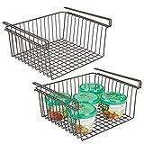 mDesign Household Metal Under Shelf Hanging Storage Organizer Bin Basket for Organizing Kitchen Pantry, Cabinets, Cupboards, Shelves - Vintage Modern Farmhouse Grid Style - Large, 2 Pack - Bronze