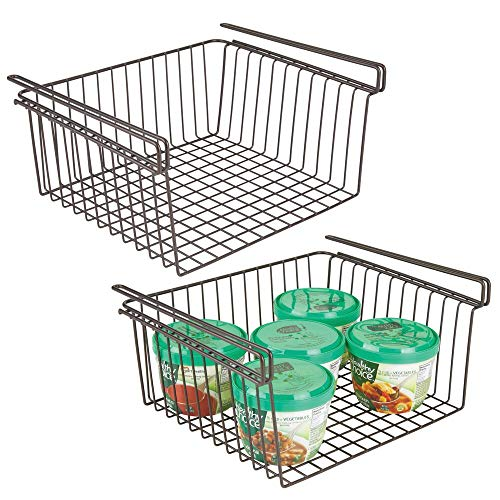 mDesign Set of 2 Under Shelf Basket – Large Wire Basket Shelves for Kitchen Storage – Hanging Storage Basket Ideal for Pantries and Cupboards – Bronze