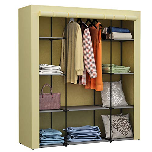 Homebi Clothes Closet Portable Wardrobe Durable Clothes Storage Organizer Non-Woven Fabric Cloth...
