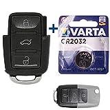 Juego de reparación de llaves de coche con 3 botones + batería compatible con Volkswagen Polo 9N Bettle 9C Passat B5 EOS 1F Touran 1T