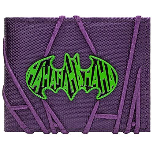 Batman The Joker Stitched HA HA Purple ID & Card Bi-Fold Wallet