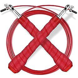 Gritin Springseil, 3M Stahlseil Jump Speed Rope seilspringen Profi Stahlkugellager leicht Verstellbare mit gemütlich Griff für Sport&Fitness-Ideal Boxen,Crossfit,MMA und Fitnessübungen-Schwarz