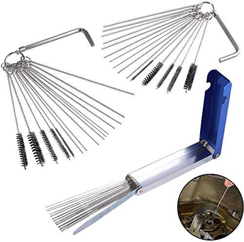 AUTOUTLET Kit de Cepillos de limpieza para carburador, kit de limpieza del carburador cepillo de aguja para motocicleta ATV
