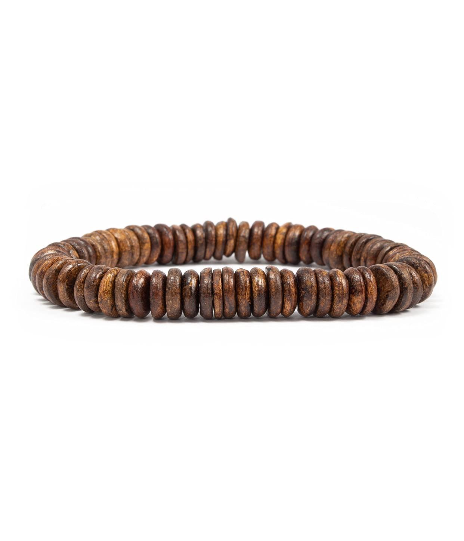 Max 66% OFF Mens bracelets beads wooden Max 85% OFF bracelet coconut unisex brown shell