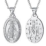 FaithHeart Collier en Argent 925 Pendentif Initial avec Médaille de la Vierge Marie Plagué Platine Chaîne 18'/46cm pour Homme et Femme