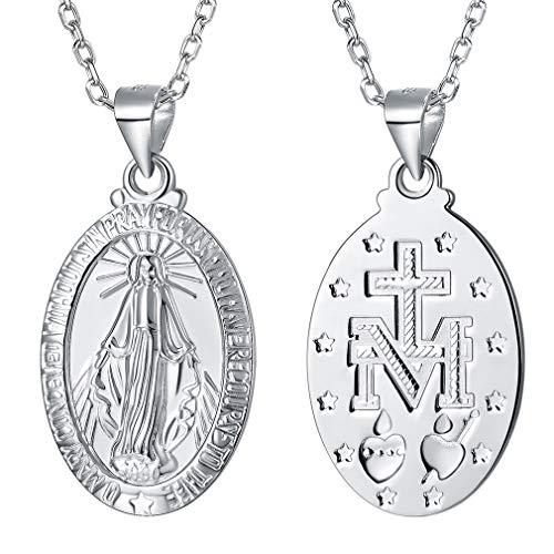 FaithHeart Medallón Milagroso Ovalado Santa María Colgante Collar Joyería Religiosa Cadena Ajustable Rolo Plata de Ley S925 Plateado Caja Regalo Unisex Mujer Hombre
