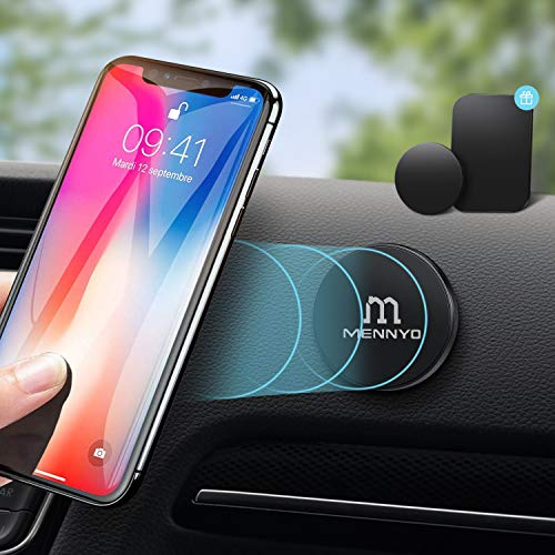 Iman coche movil, Soporte móvil para coche con Láminas Metálicas pegado al tablero | Pared - MENNYO Soporte movil coche magnético Compatible con iPhone Samsung Galaxy / Note Huawei, etc.