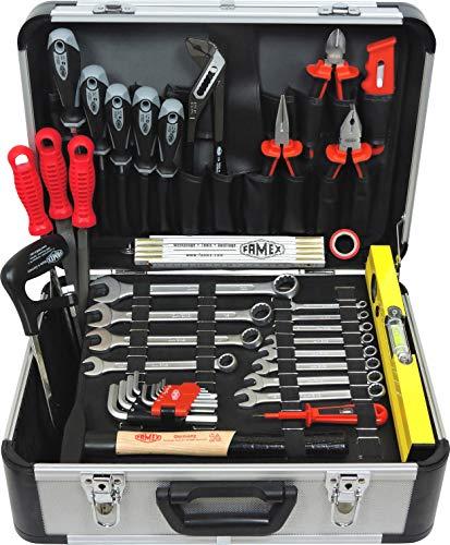 FAMEX 729-94 Alu Werkzeugkoffer mit Werkzeugbestückung | Werkzeugkiste mit Werkzeug-Set | Profi Werkzeugkoffer Aluminium befüllt