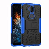 COTDINFORCA Case for ZenFone 5Q ZC600KL Tyre Pattern Design Heavy Duty Tough Protection Case with Kickstand Shock Absorbing Detachable 2 in 1 Case Cover for ZenFone 5Q / ZenFone 5 Lite. Hyun Blue