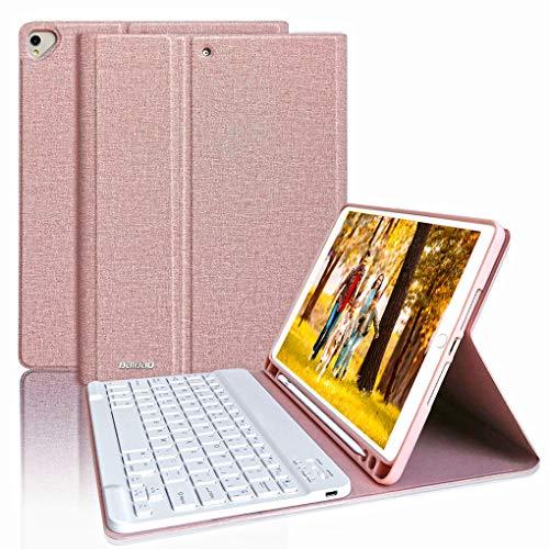 Tastiera per iPad 8a Gen 2020/10.2 7a Generazione 2019/Air 3 10.5 con Custodia, Tastiera Italiana Bluetooth per iPad 10.5 2017 con Custodia,Cover per iPad con Tastiera Wireless Rimovibile (Champagne)