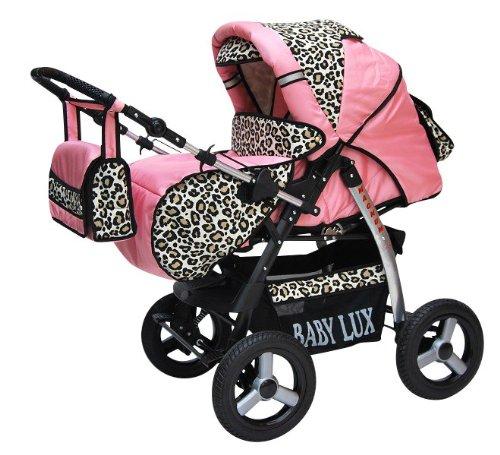 Lux4Kids Magnum 3 in 1 Cochecito Combinado (asiento del coche incluye adaptadores, cubierta para la lluvia, mosquitero, portavasos, el cambio de la almohadilla de 47 colores) 18 rosa & leopardo