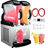 VBENLEM 110V 2 in 1 Commercial Slushy Machine 2x6L Temperature -10℃ to 5℃ Soft Ice Cream Maker 1300W LED Display Automatic Clean Preservation Function for Supermarkets Cafes Restaurants Snack Bar