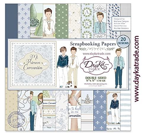 Dayka Trade Colección Papel Scrap Dayka Mi Primera Comunion Niño 20 Hojas 20x20cm, Azul, Regular
