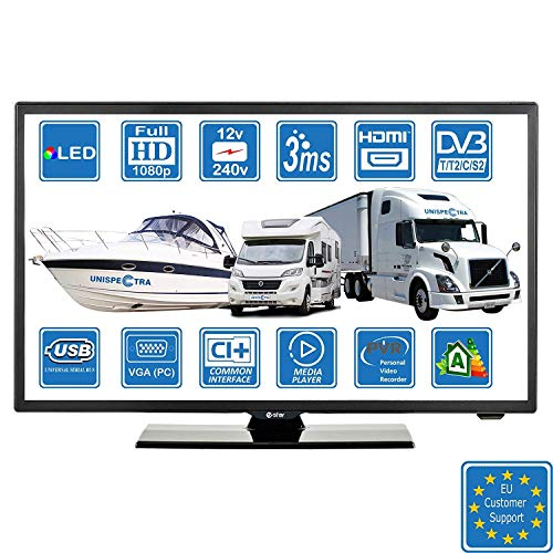 Autocaravanas Cravana Camper Barco 12v 22 Pulgadas 56 cm LED Full HD Digital TV DVB-T2/C/S2 TDT, Cable, Satélite TV. 12V 220V USB PVR & Reproductor Multimedia, VGA & HDMI Monitor de PC