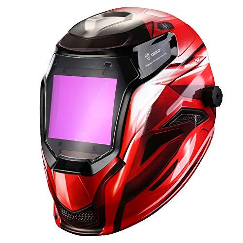 DEKOPRO Przyłbica spawalnicza zasilana energią słoneczną, automatyczne zaciemnienie, profesjonalna pokrywa z cyfrowym wyświetlaczem LED, dokładnie regulowany zakres odcieni 4/5-8/9-13 do maski spawalniczej Mig Tig Arc Weld, czerwona