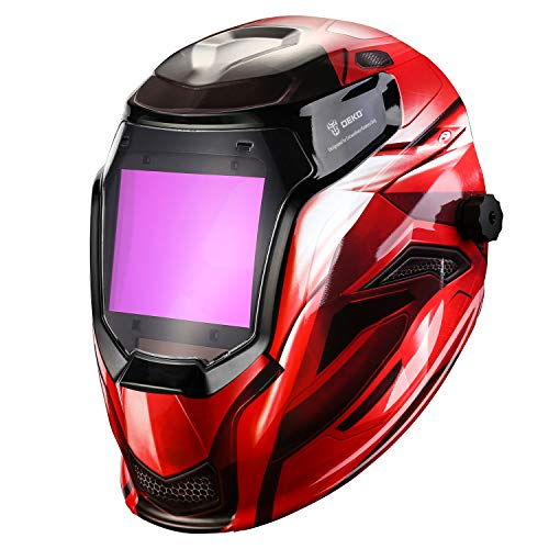 Solar Powered Welding Helmet Auto Darkening Professional Hood with Wide Lens Adjustable Shade Range 4/9-13 for Mig Tig Arc Weld Grinding Welder Mask (Red)
