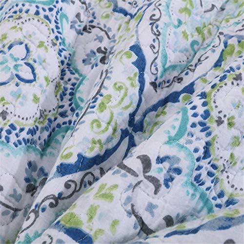 ZXLRH Couvre-Lit Bleu 230X250, Couvre-Lit Vintage Canapé Union, Couette MatelasséE en Coton Et Polyester, Couverture D'éTé avec Coussin