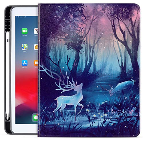 ipad 10.2 2019/2020 7th/8th Case with Pencil Holder, ipad Air/Pro 10.5 Case 2019/2017, Vimorco Premium Leather Smart Protective Folio Shell Cover for Apple ipad 7th Gen, Forest&Deer