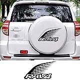 Qwldmj Autocollants de Couverture de Roue de Secours de Voiture pour Toyota RAV4 Pneu de Secours Automatique Film de Vinyle Graphique Auto décoration Autocollants Accessoires