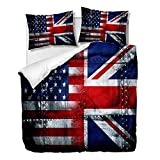 Juego de funda de edredón con diseño de bandera de Reino Unido y Estados Unidos, juego de funda de edredón, juego de cama decorativo de 3 piezas con 2 fundas de almohada (Multi 2, King)