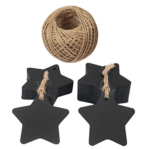 Star Tags,100 PCS Gift Tags, 6 CM Black Tags with 100 Feet Jute String, Ideal for Wedding Party Favor Tags, Price Labels, Luggage Tags