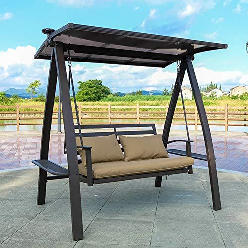 Outdoor-Eisen Schaukel Stuhl, Doppel Garten Balkon Schaukelstuhl mit Ständer, einstellbare Canopy-Patio-Stuhl Shaker Lounge Chair