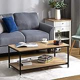 DADEA Mesa de café maciza, mesa de salón, mesa de salón, universal, mesa de centro de salón, mesa de salón, mesa de sofá con estante, estructura de metal, madera, estable, vintage