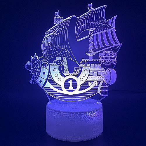 SHJDY Corsair nachtlampje, 7 kleuren, 3D-slaaplicht, led-flits, USB-voeding, afstandsbediening, geschikt voor kamerdecoratie, Kerstmis Afstandsbediening.