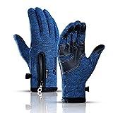 Männer und Frauen des Winters im Freien tragen warme wasserdichte Fahrradreithandschuhe des Touch...