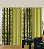 Galaxy Home Decor Polyester Grommet Curtain, 4 X 7, Green, Pack of 4