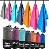 Sfee 2 Pack Camping Towel, Quick Dry Towel Super Absorbent Travel Microfiber Towels, Fast Drying Compact Soft Lightweight Sports Towel Set for Beach, Hiking, Travel, Gym, Backpacking, Pool +Carabiner