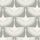 Tempaper FE4023 Feather Flock | Designer Removable Peel and Stick Wallpaper, 28 sq. ft, Chalk