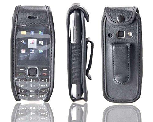 caseroxx Ledertasche mit Gürtelclip für Nokia 3720 aus Echtleder, Handyhülle für Gürtel (mit Sichtfenster aus schmutzabweisender Klarsichtfolie in schwarz)