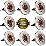 MOICO Solar Ground Lights, 16 LED Solar Garden Lights Waterproof in-Ground Lights, Outdoor Solar Powered Disk Lights for Lawn, Pathway, Yard, Step and Walkway - 8 Pack (Orange)