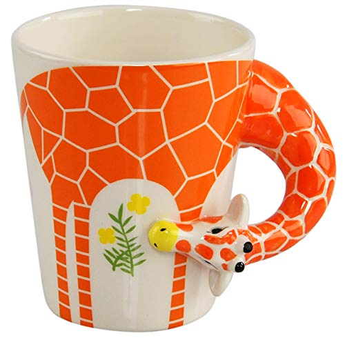 HOME-X Ceramic 3D Giraffe Mug, Funny Animal-Themed Cup for Tea and Coffee, Long Neck and Legs Giraffe Cup (13.5 oz)