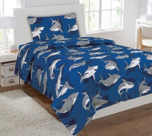 Linen Plus Sheet Set for Boys/ Teens Shark Light Blue Grey Flat Sheet Fitted Sheet and Pillow Cases New