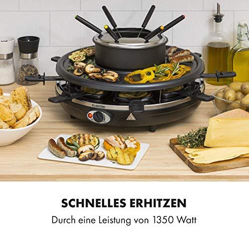 Fonduelette Raclette und Fondue, 1350 W, Fonduetopf: 1 L, Grillplatte: 38cm Ø, für...