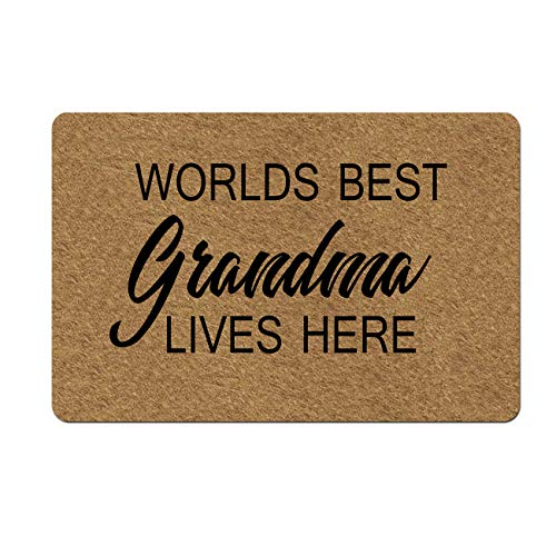 """Doormat Funny Front Door Mat- Worlds Best Grandma Lives Here Doormat Rubber Non Slip Backing Funny Doormat for Outdoor/Indoor Uses 23.6""""(W) X 15.7""""(L)"""