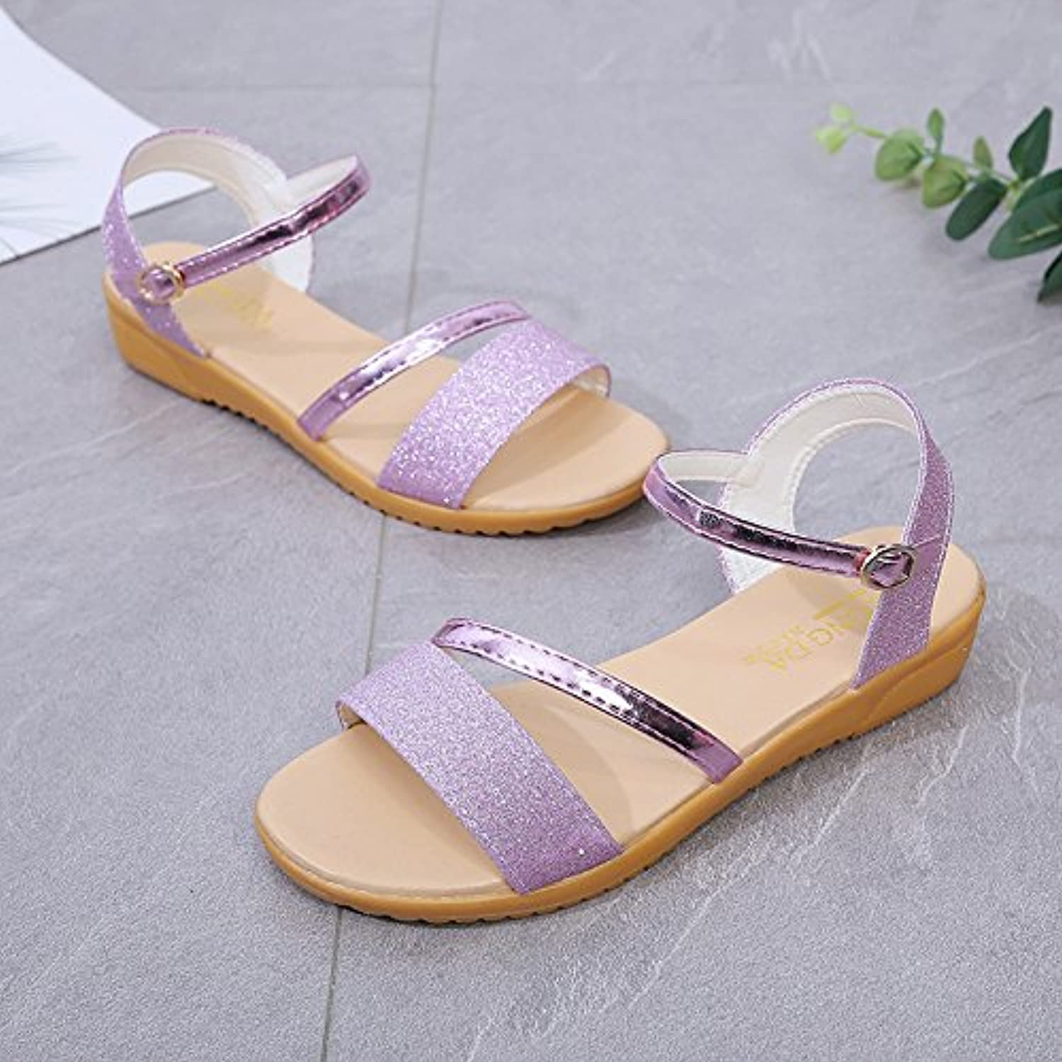 Sandals, Summer Casual Sandals, Round Head, Toes, Low shoes, Flat Heels.