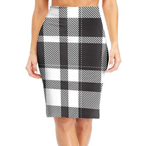 Women's Midi High Waist Skirt Fashion Pencil Skirt Knee Skirts For Office Wear Tartan Scotland Seamless Plaid