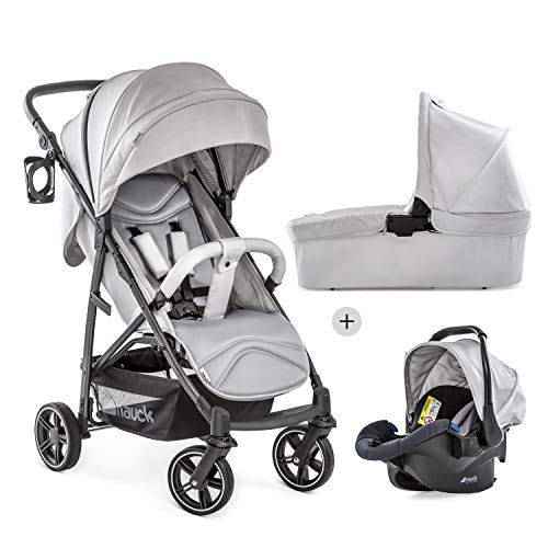 Hauck Rapid 4S Plus Trioset con capazo y asiento para bebé y asiento reclinable, desde nacimiento, capota extra grande, ajustable en altura, plegable, portavasos, hasta 25 kg, gris