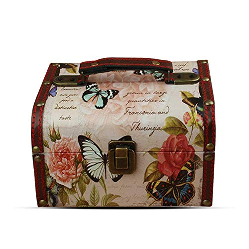 AOLVO Wooden Treasure Box Farfalla e Rose Modello Cofanetto Porta Gioielli Decorativi Treasure cassapanca Organizer per Donne 17,8 x 14,5 x 11,9 cm