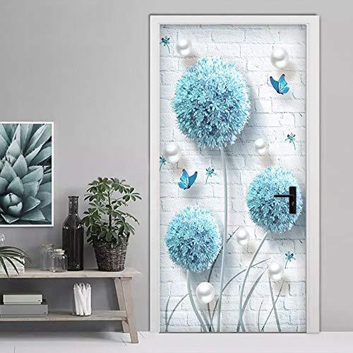 Papel Tapiz Fotográfico Personalizado Moderno 3D Estéreo Azul Diente De León Joyería Mural Sala De Estar Dormitorio Puerta Pegatina Creativo Papel De Pared DIY