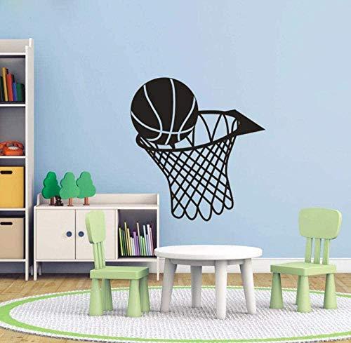FFVVE Pegatinas de pared Baloncesto y Dunk Deportes Vinilo Arte de la pared Calcomanía Decoraciones para el hogar - Pegatinas de pared para decoración de sala de juegos para niños 58X62Cm
