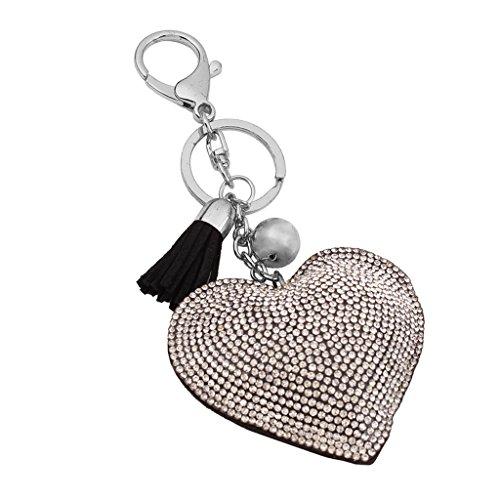 Schlüsselanhänger Anhänger Taschenanhänger Schlüsselring Herzanhänger m. Quaste - Schwarz